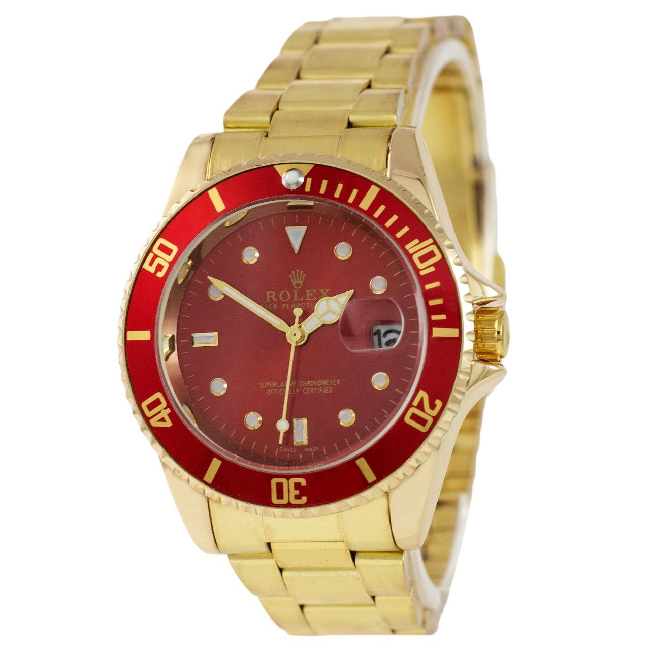 Наручные мужские часы Rolex Submariner Quarts Gold-Red