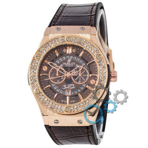 Наручные мужские часы Hublot 882888 Classic Fusion Crystal Brown-Gold-Brown