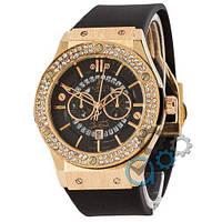 Наручные мужские часы Hublot 882888 Classic Fusion Crystal Black-Gold-Black