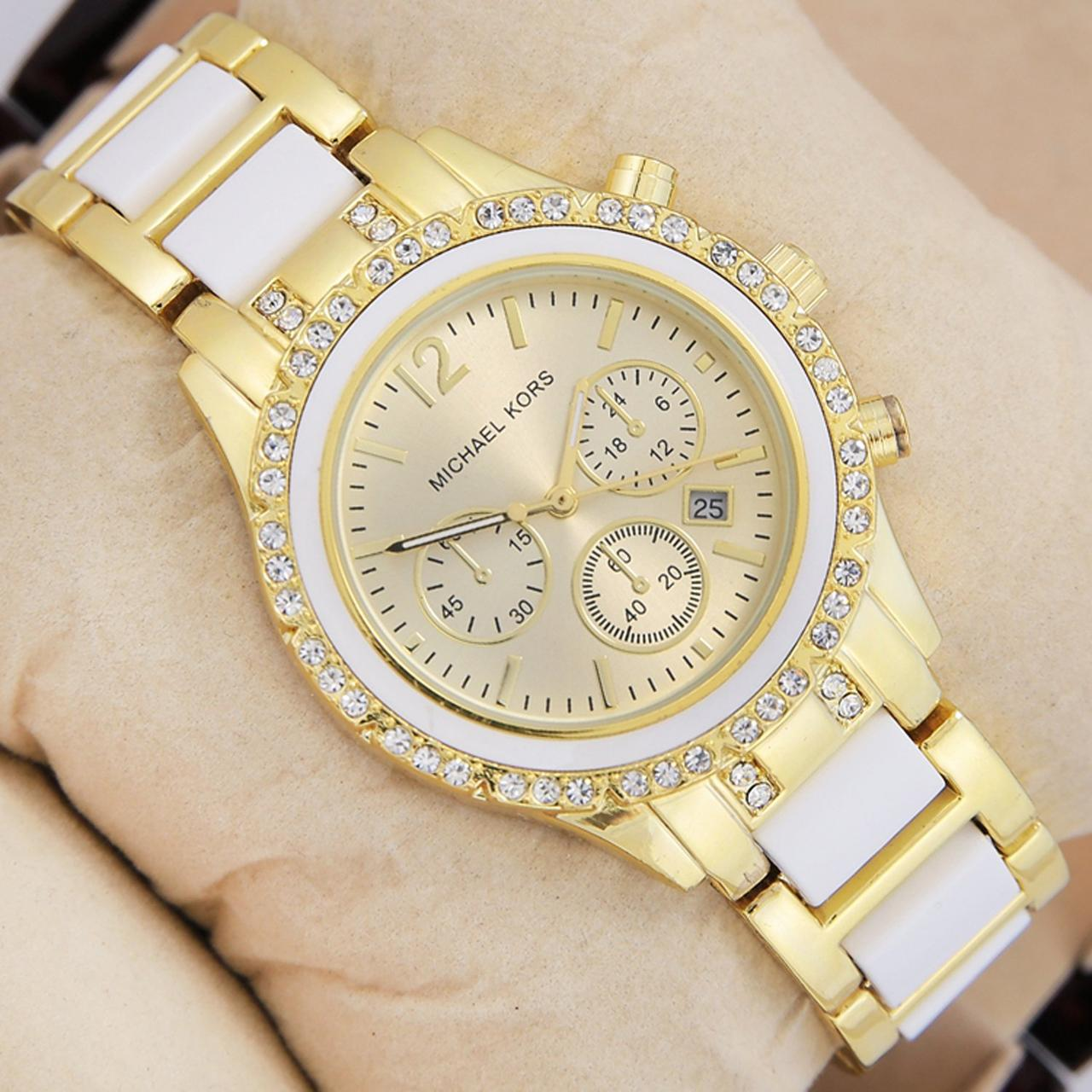 Наручные женские часы Michael Kors 10203 Crystal Gold-White-Gold