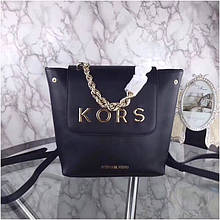 Рюкзак, портфель від Майкл Корс 30 см натуральна шкіра, колір чорний з золотом