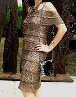 """Вязаное платье с ажурными принтами""""фестоны"""" бронзового цвета ручной работы"""