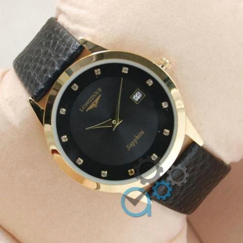 Наручные мужские часы Longines Slim Quartz Gold-Black