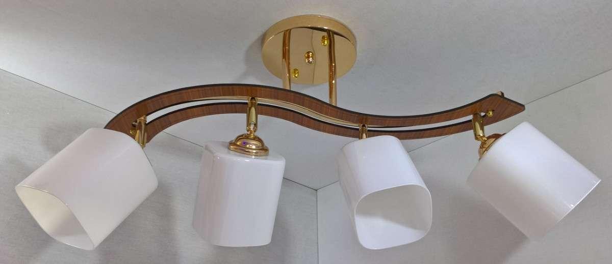 Люстра потолочная на 4 лампочки YR-6032/4-gd