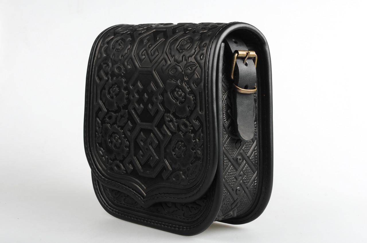 d9dc9fec7ef4 Кожаная квадратная женская сумка,черная сумочка с тисненым орнаментом, сумка  через плечо
