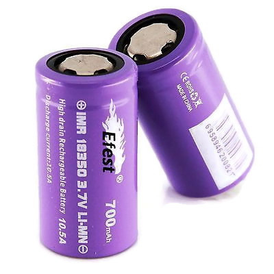 Аккумулятор Efest Purple 18350 IMR 700 мач 10,5А плоский плюс без защиты