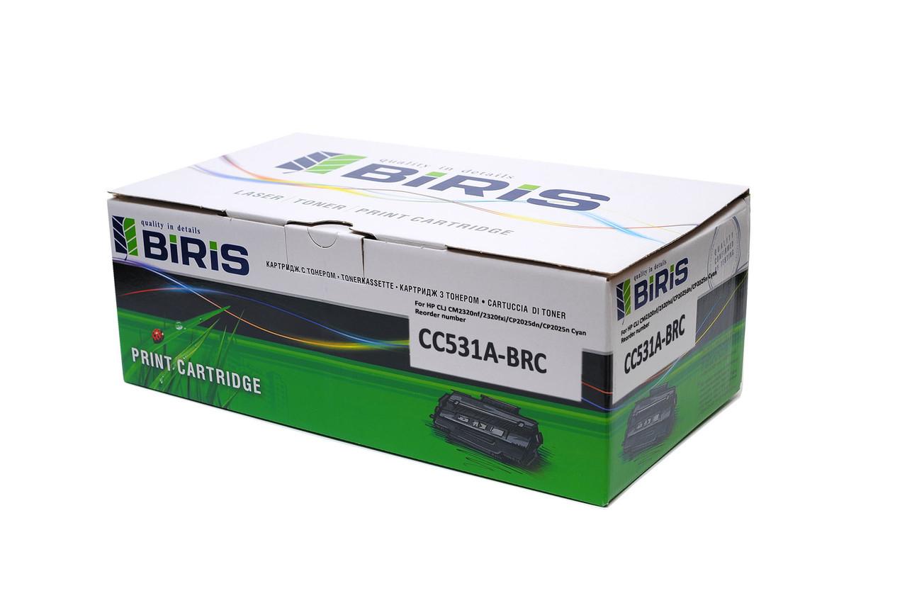 Картридж цветной HP CC531A оригинальный Biris голубой