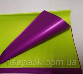 Двусторонняя калька салатовый-фиолетовый лист 0,6х0,6м