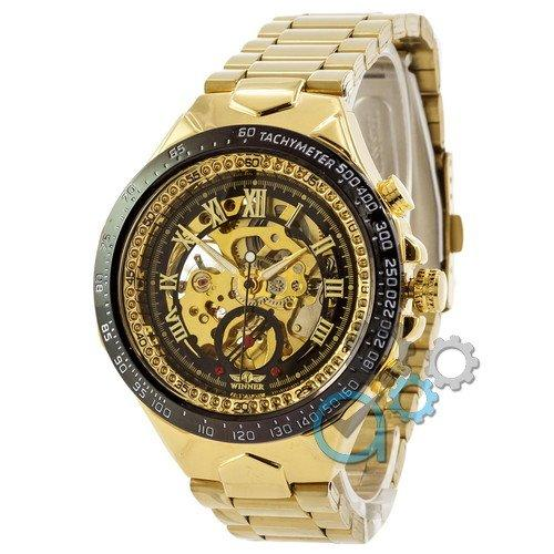 Наручные мужские часы Winner Gold-Black-Black Red Cristal
