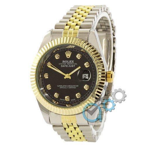 Наручные мужские часы Rolex Date Just Silver-Gold-Black