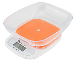 Электронные кухонные весы с чашей на 7 кг Domotec MS-125 Orange