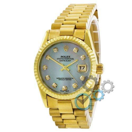 Наручные женские часы Rolex Date Just Gold-Blue Pearl