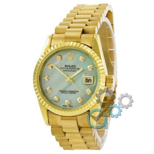 Наручные женские часы Rolex Date Just Gold-Turquoise Pearl
