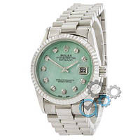 Наручные женские часы Rolex Date Just Silver-Turquoise Pearl