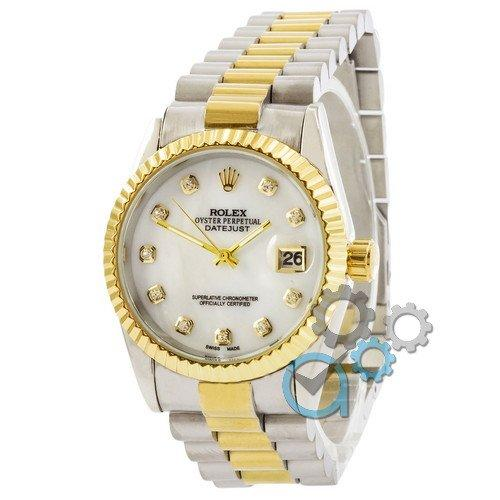 Наручные женские часы Rolex Date Just Silver-Gold-White Pearl
