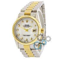 Наручные женские часы Rolex Date Just Silver-Gold-White Pearl, фото 1