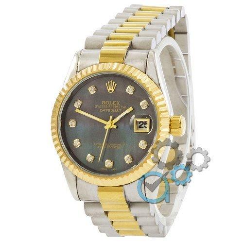 Наручные женские часы Rolex Date Just Silver-Gold-Green Pearl