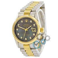 Наручные женские часы Rolex Date Just Silver-Gold-Green Pearl, фото 1