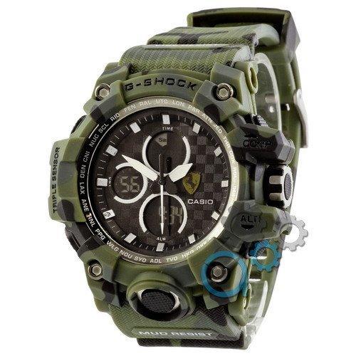 Наручные мужские часы Casio G-Shock Ferrari Dark-Green-Militari White