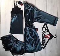 Шелковый комплект для дома халат+пижама с кружевом, одежда для сна и отдыха.