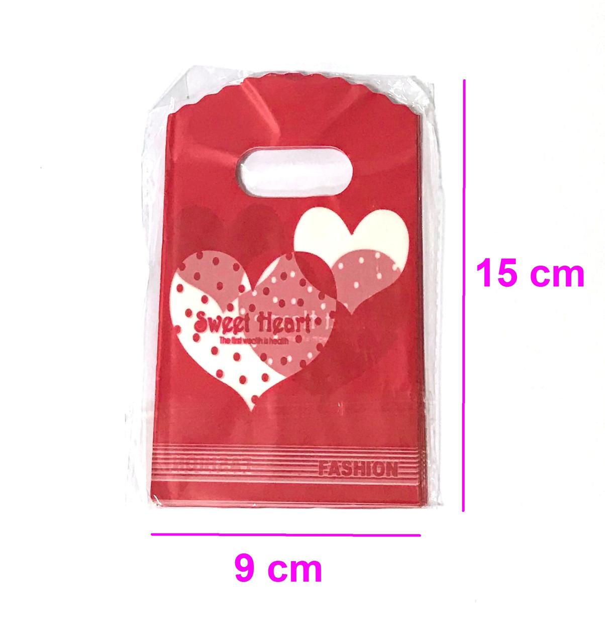 Подарочные Пакеты, 9см*15см, (50 шт.), Двухсторонние Сердца, красные