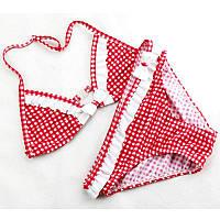 Купальник для девочки в клеточку с рюшами и бантиком красный опт, фото 1