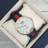 Наручные мужские часы Gucci Gold-White Green-Red