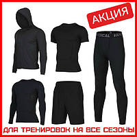 Компрессионная одежда Комплект 5в1 Рашгард Леггинсы Футболка Шорты Худи