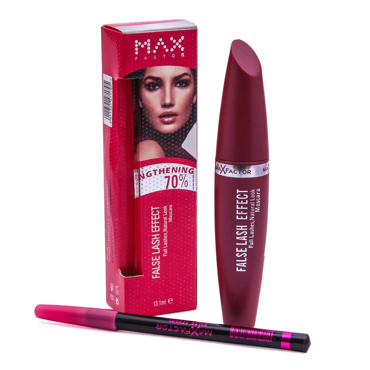 Тушь для ресниц Max Factor False Lash Effect (розовая) + карандаш
