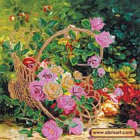 """Схема для вышивки бисером на натуральном холсте """"Садовые розы"""" AC-201"""
