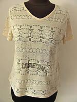 Блуза летняя, очень легкая, тонкая, ткань натуральная, светлая сирень, беж.,  размеры 42-44,46-48 код 2448М