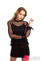 80f2d62399b Блуза из органзы с цветочной вышивкой 5580. Прозрачная блуза из фатина с  горошинами 3041