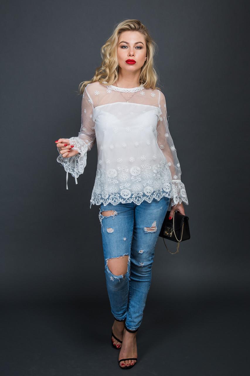 c061c10b82d Блуза из органзы с цветочной вышивкой 5580 - Інтернет-магазин