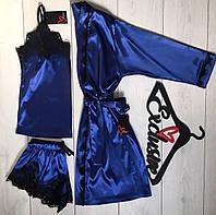 Синий шелковый комплект для дома халат+пижама с кружевом