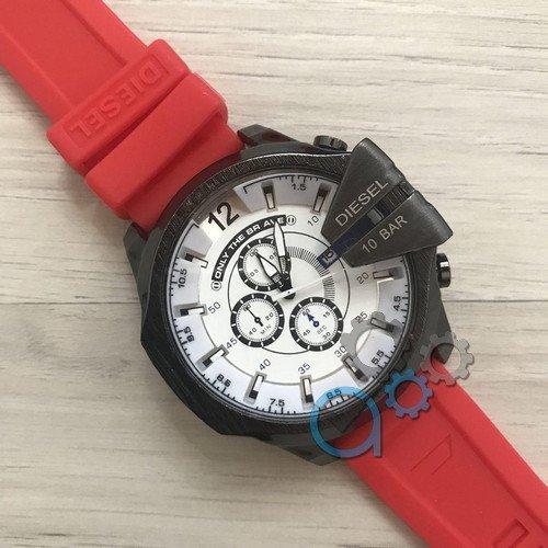 Наручные мужские часы Diesel 10 Bar Black-White Red Wristband Silicone