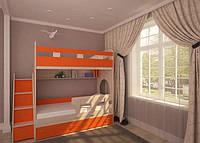 Кровать-чердак для двух детей КЧД 110 с лестницей-комодом, ДСП 18 мм