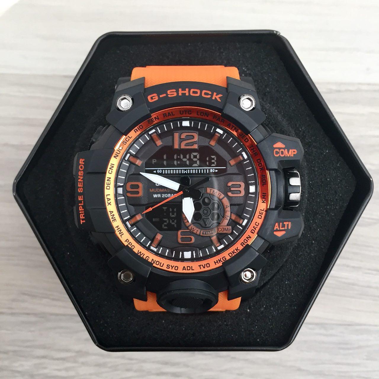 Наручные мужские часы Casio G-Shock GG-1000 Black-Orange Wristband