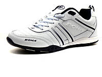 Кроссовки Bona унисекс, кожаные, белые, фото 1