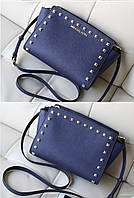 Michael Kors Selma Medium Studded Leath Meressenger Blue