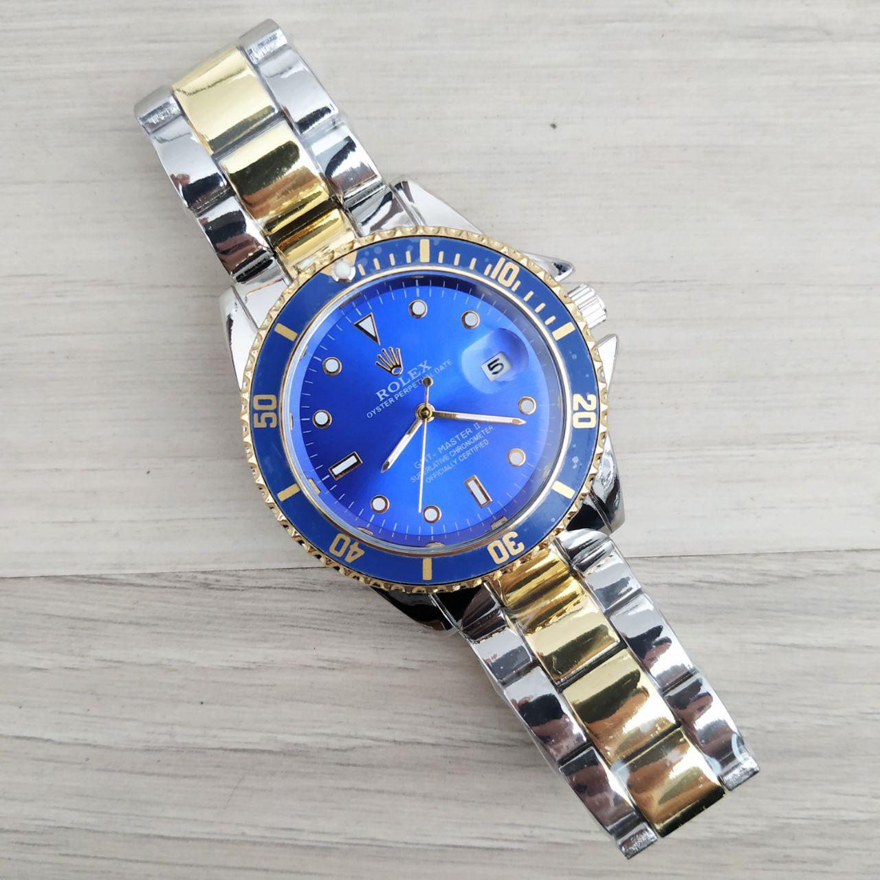 Наручные женские часы Rolex GMT-Master Silver-Gold-Blue