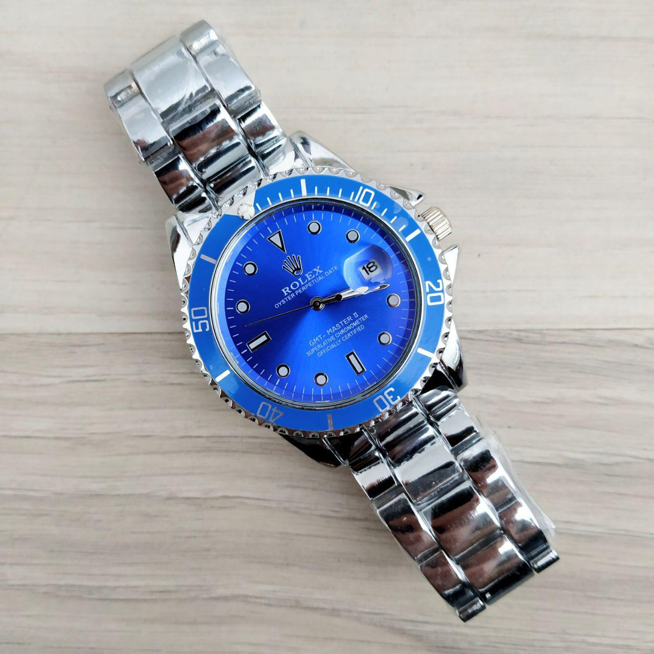 Наручные мужские часы Rolex GMT-Master Silver-Blue