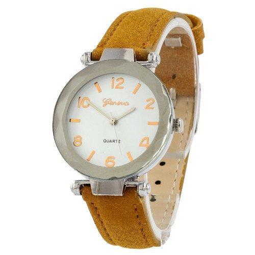 Наручные женские часы Geneva серебро кожзам коричневый светлый