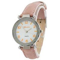 Наручные женские часы Geneva серебро кожзам розовый
