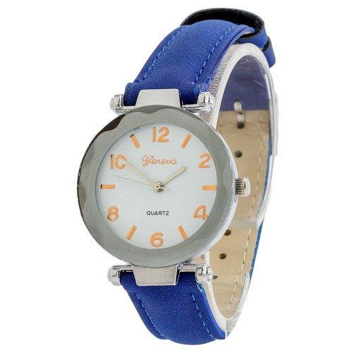 Наручные женские часы Geneva серебро кожзам синий