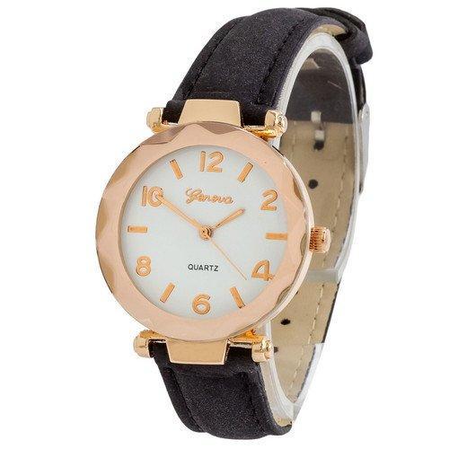 Наручные женские часы Geneva золото кожзам черный
