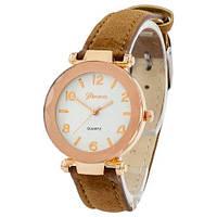 Наручные женские часы Geneva золото кожзам коричневый темный