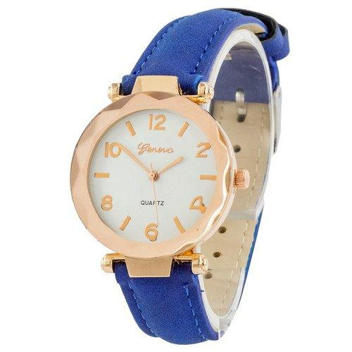 Наручные женские часы Geneva золото кожзам синий
