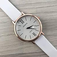 Наручные женские часы Geneva золото силикон белый