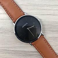 Наручные женские часы Geneva кожзам серебро черный сербро коричневый