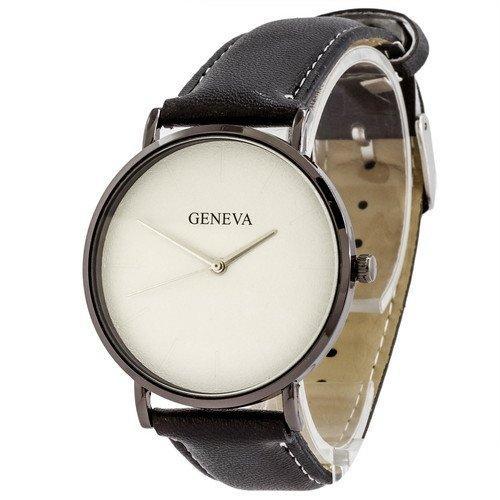 Наручные женские часы Geneva кожзам черный белый серебро черный